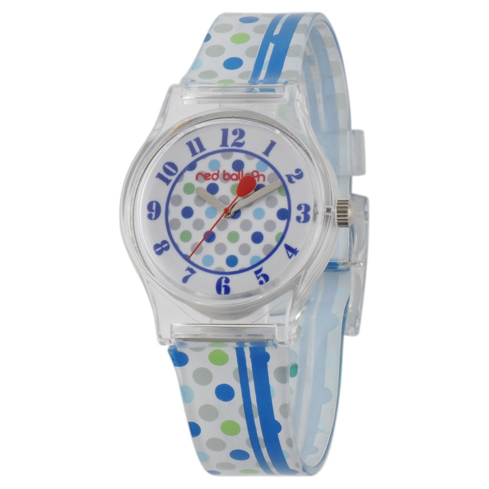 Boys Red Balloon Clear Plastic Watch - White