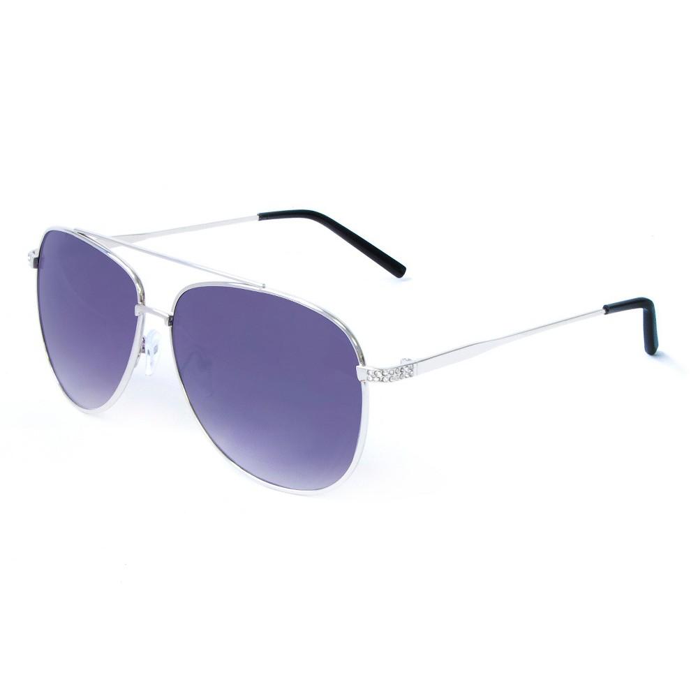 Womens Aviator Sunglasses - Silver, Shiney Silver