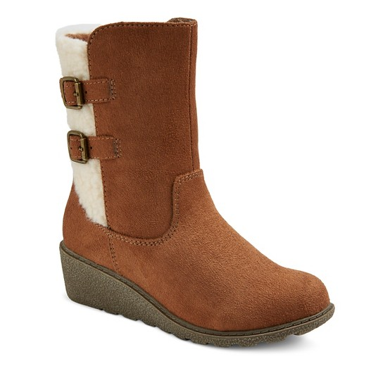 Girls' Bri Sherpa Wedge Shearling Style Boots Cat & Jack™ - Cognac ...