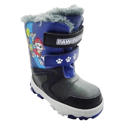 Toddler Boys' Double Velcro Strap Winter Boots - Black XL