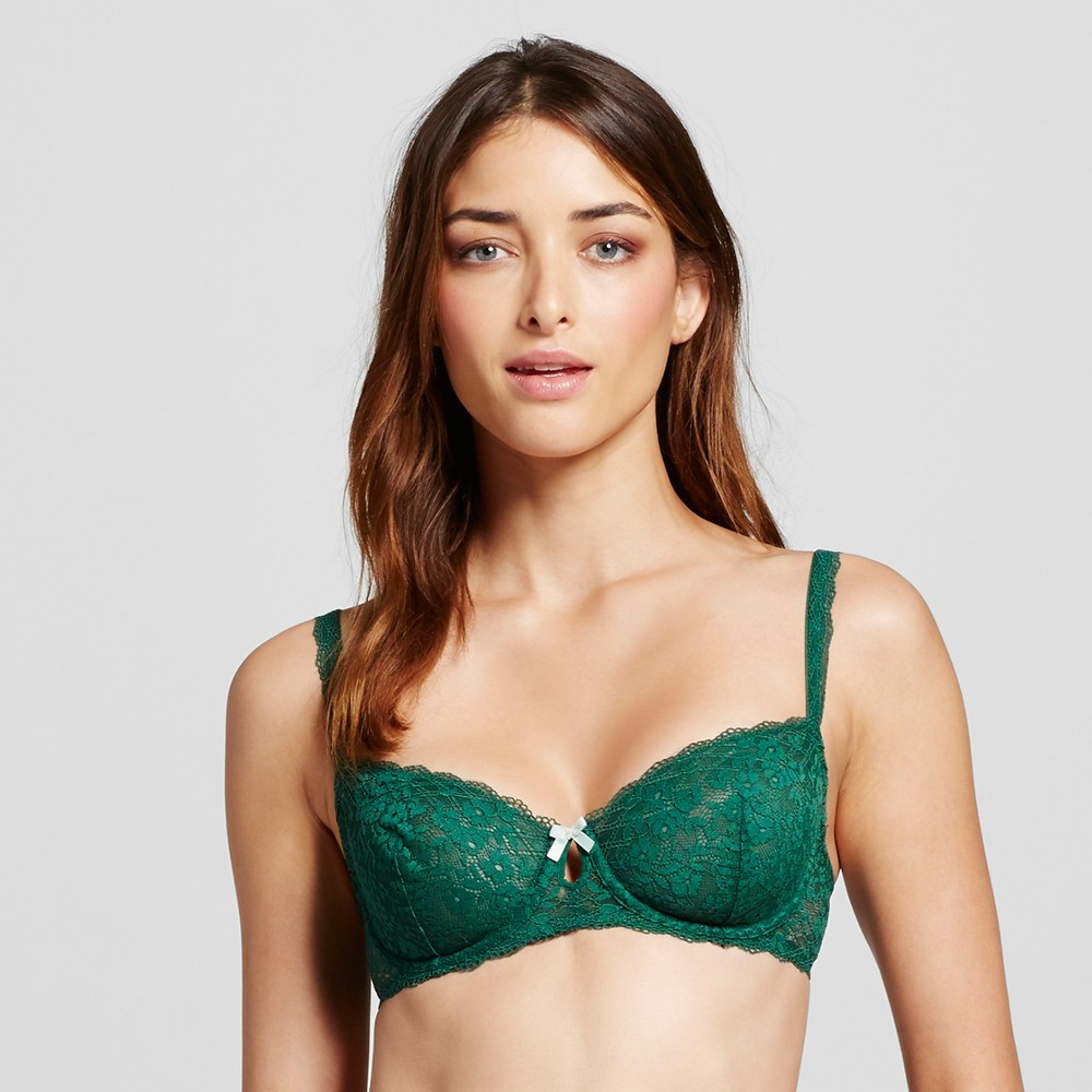 Womens Unlined Lace Bra Arugula Green 32DD