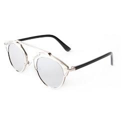 Round Aviator Sunglasses - Black Silver