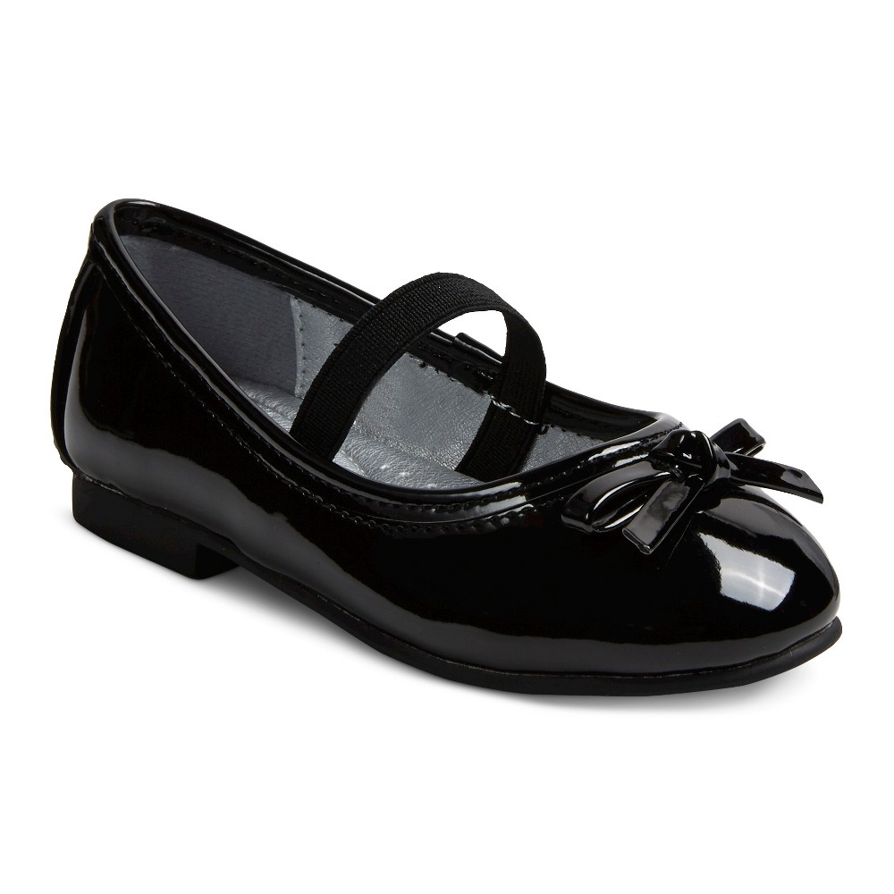 Toddler Girls Just Buds Comfort Mary Jane Dress Ballet Shoes - Black Patent 11
