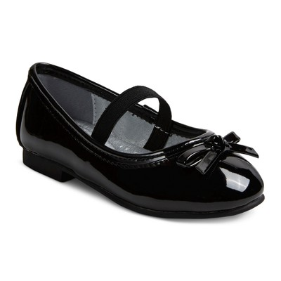 Toddler Girls' Just Buds Comfort Mary Jane Dress Ballet Shoes - Black Patent 7