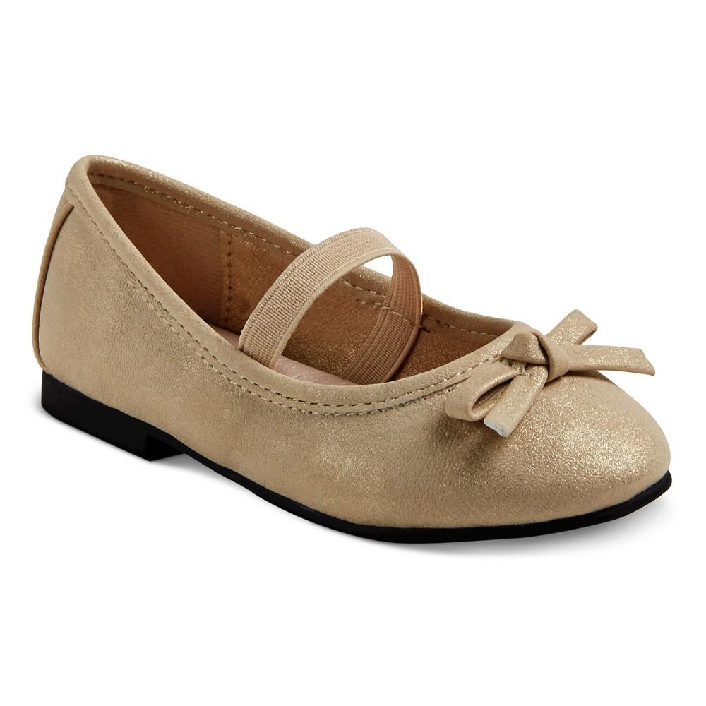 Toddler Girls Just Buds Comfort Mary Jane Dress Ballet Shoes - Gold Shimmer 5