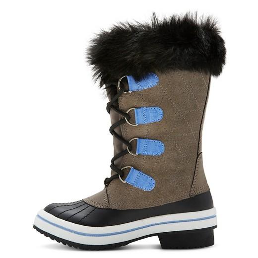 Girls' Nadia Suede Fur Top Winter Boots Cat & Jack™ - Gray : Target
