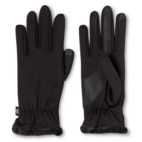 Gloves Isotoner Black Solid, Women's