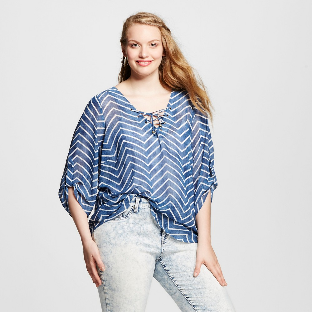 Women's Plus Size Chevron Lace Up Blouse Off-White 3X – 3Hearts, Blue White