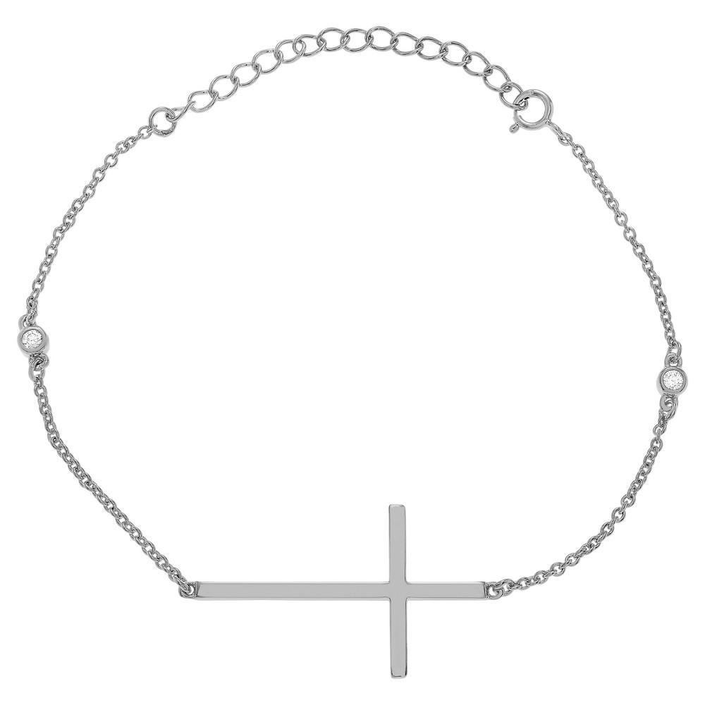1/10 CT. T.W. Round-cut CZ Cross Bezel Set Bracelet in Sterling Silver - Silver, Womens