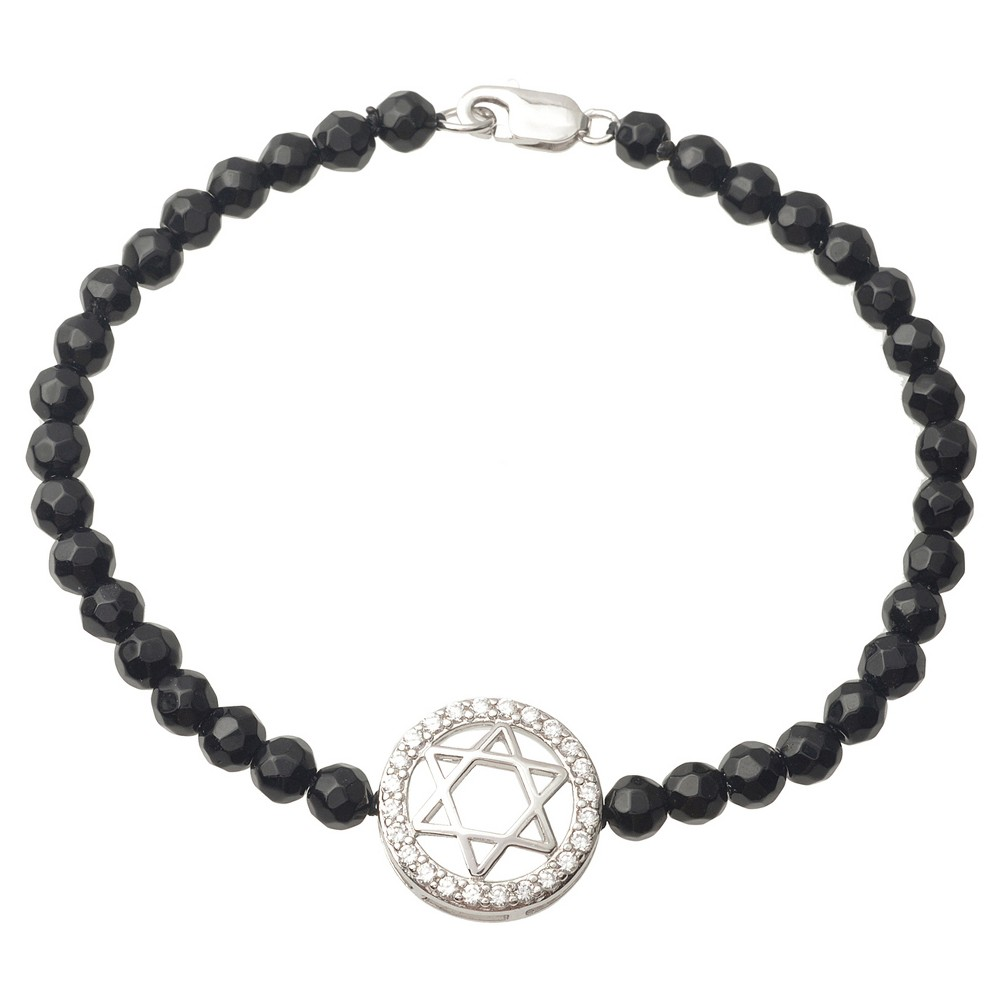 1/2 CT. T.W. Round-cut CZ Star of David Chain Pave Set Bracelet in Sterling Silver - Black, Womens