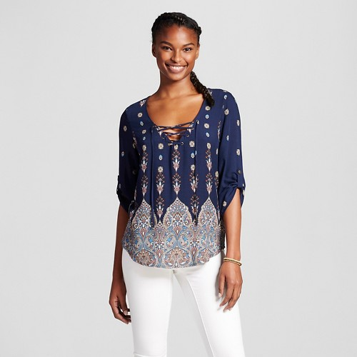 Women's Printed Tie Up Convertible Sleeve Top Navy (Blue)/Turquoise/Mauve M - 3Hearts (Juniors')