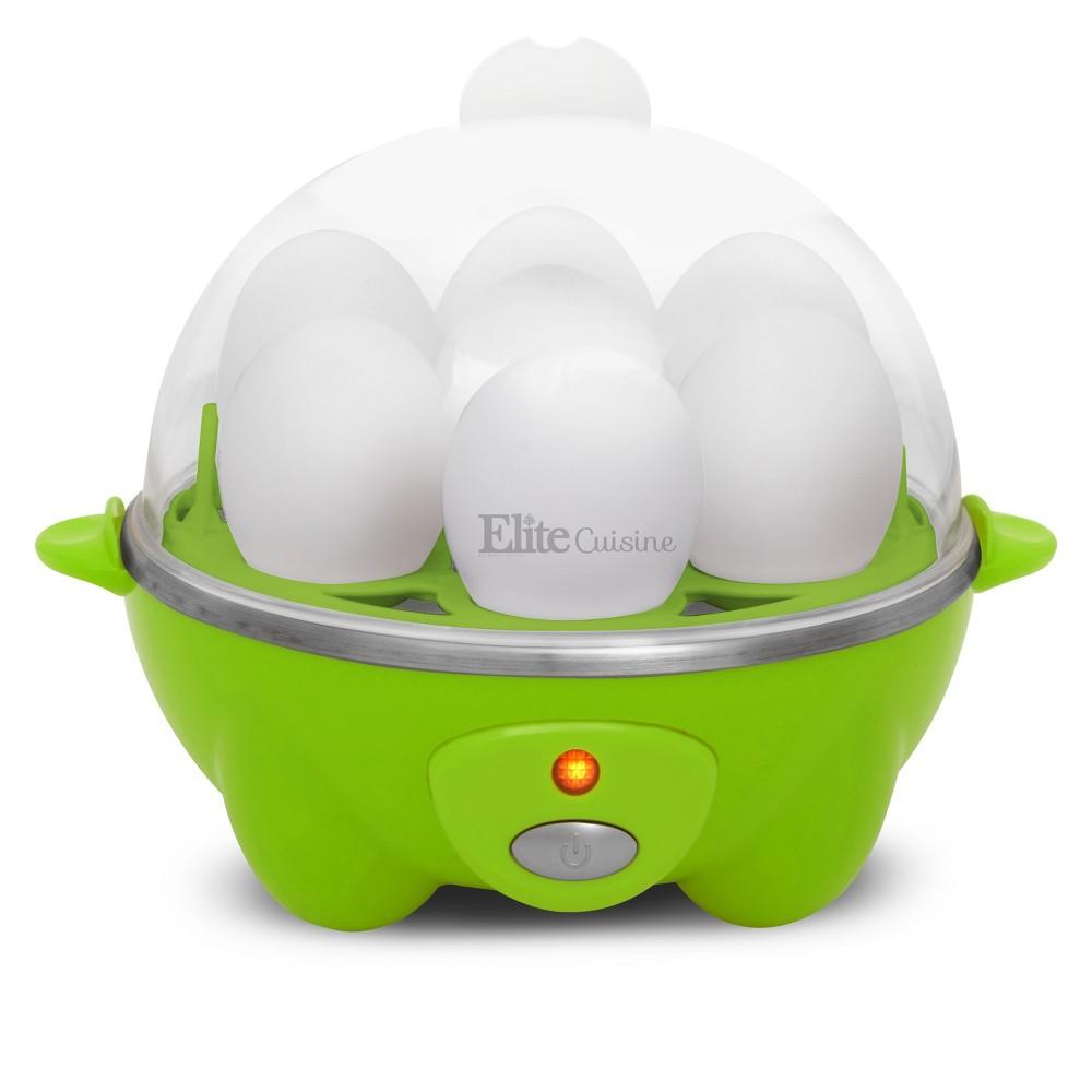 Elite Cuisine Electric Egg Cooker, Green Light