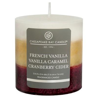 Layered Pillar Candle Vanilla/Caramel/Cranberry Cider 3 x3  - Chesapeake Bay Candle®