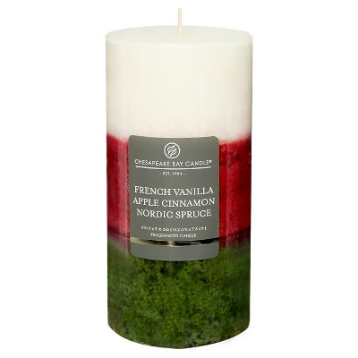 Layered Pillar Candle Vanilla/Cinnamon/Nordic Spruce 6 x3  - Chesapeake Bay Candle®