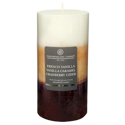 Layered Pillar Candle Vanilla/Caramel/Cranberry Cider 6 x3  - Chesapeake Bay Candle®
