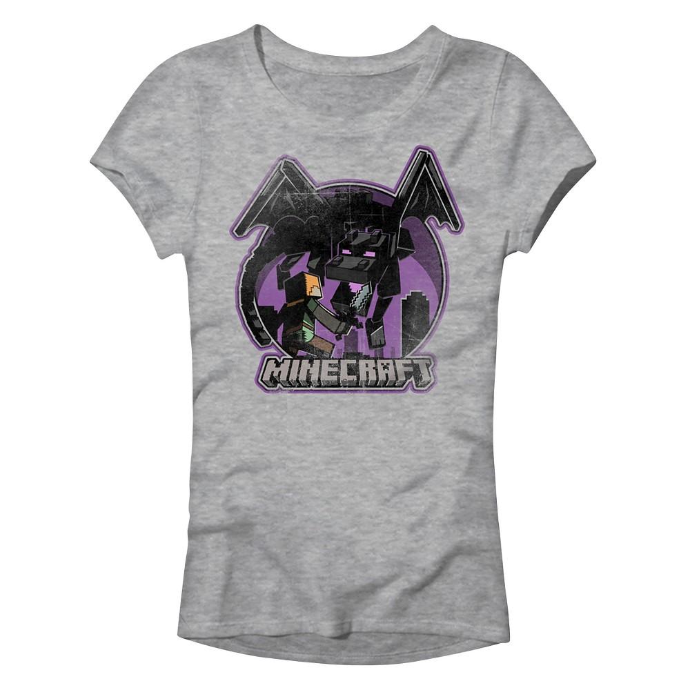 J!NX Girls Minecraft Vintage Battle Alex T-Shirt - Gray S