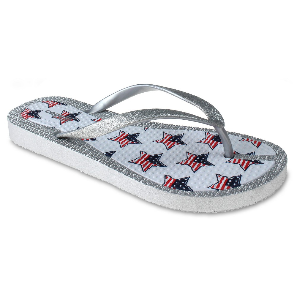 Womens Capelli American Star Flip Flop Sandals - White 8