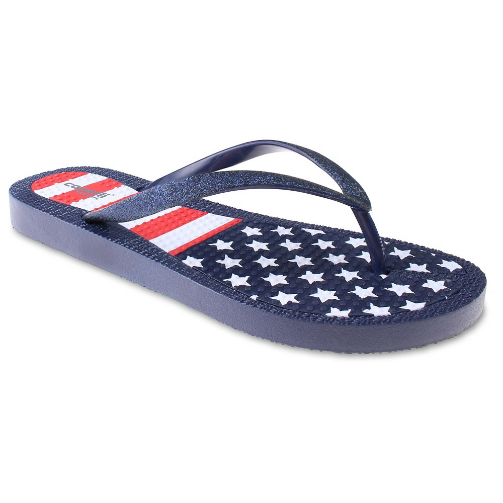 Womens Capelli American Flag Flip Flop Sandals - Navy 6, Blue