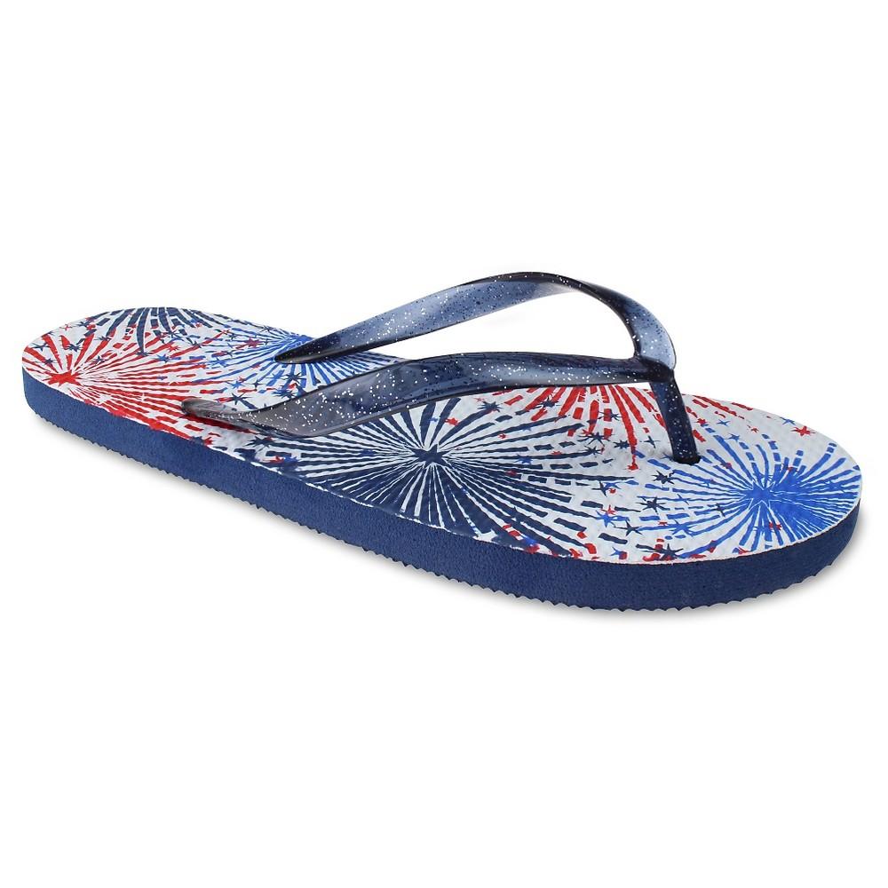 Womens Capelli Americana Fireworks Flip Flop Sandals - Navy 8, Blue