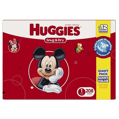 HUGGIES® Snug & Dry Diapers, Giant Pack - Size 1 (208 ct)