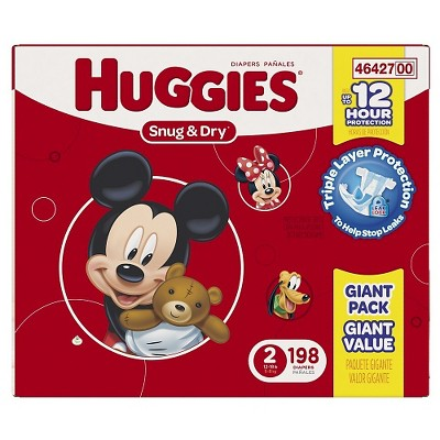 HUGGIES® Snug & Dry Diapers, Giant Pack - Size 2 (198 ct)