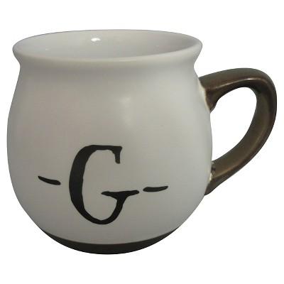Monogram Belly Mug 16oz Stoneware White - G - Threshold™