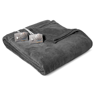 Heated Microplush Blanket Queen Gray - Biddeford