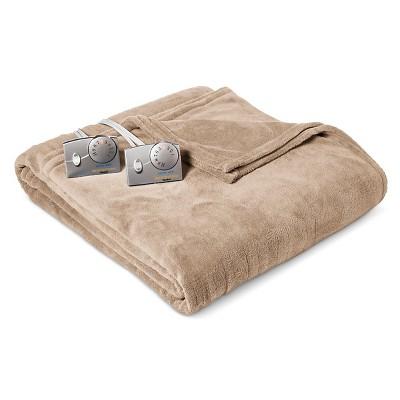 Heated Microplush Blanket King Taupe - Biddeford