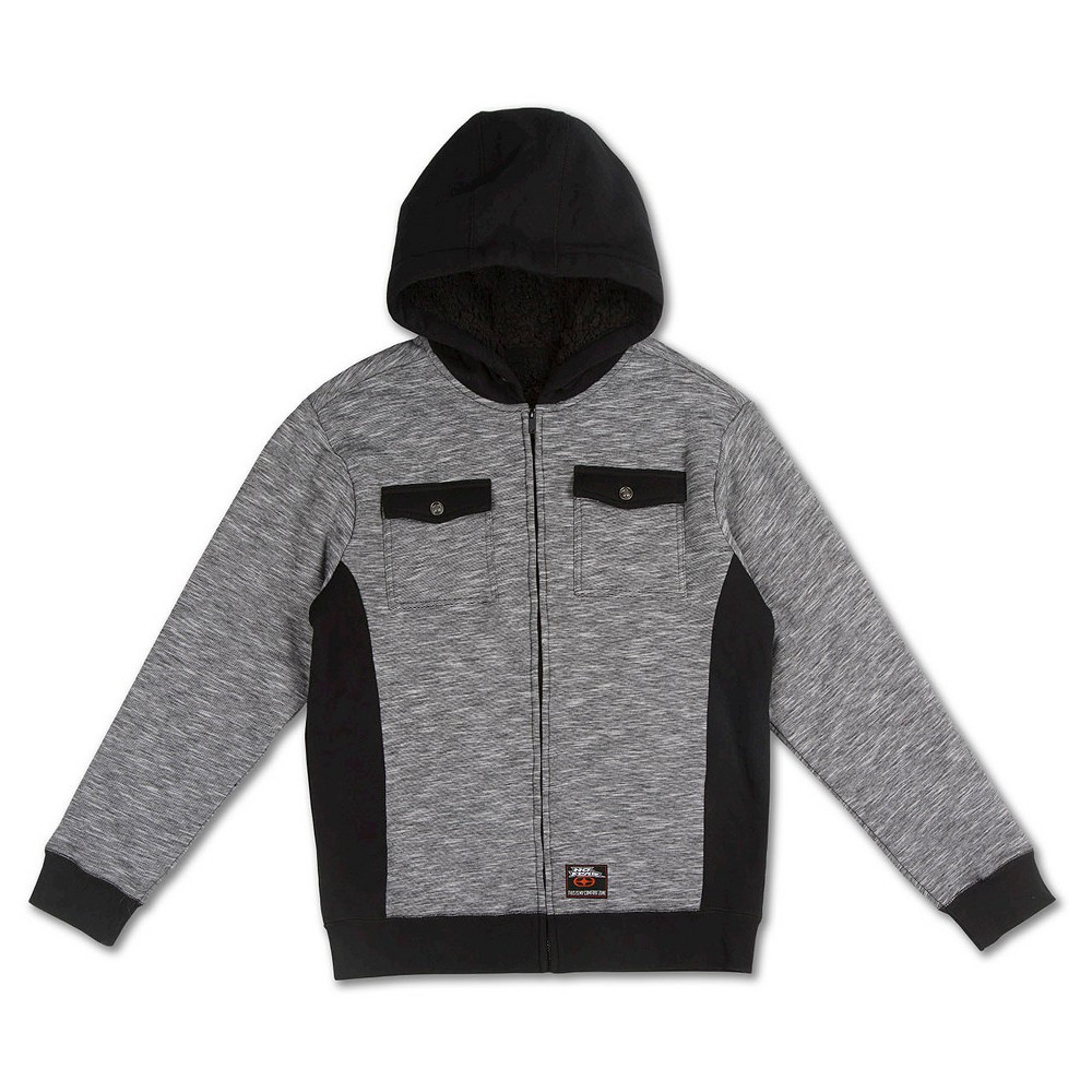 Boys' No Fear Fleece Jacket – Grey/Black XL, Boy's