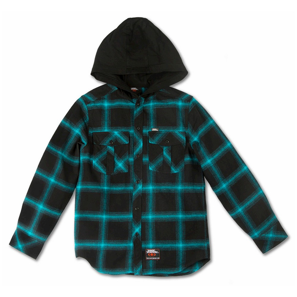 No Fear Boys' Hooded Flannels – Turquoise – M, Boy's