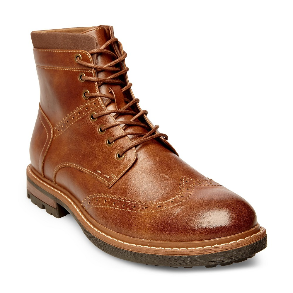 Mens SoHo Cobbler Evan Wingtip Booties - Tan 9.5