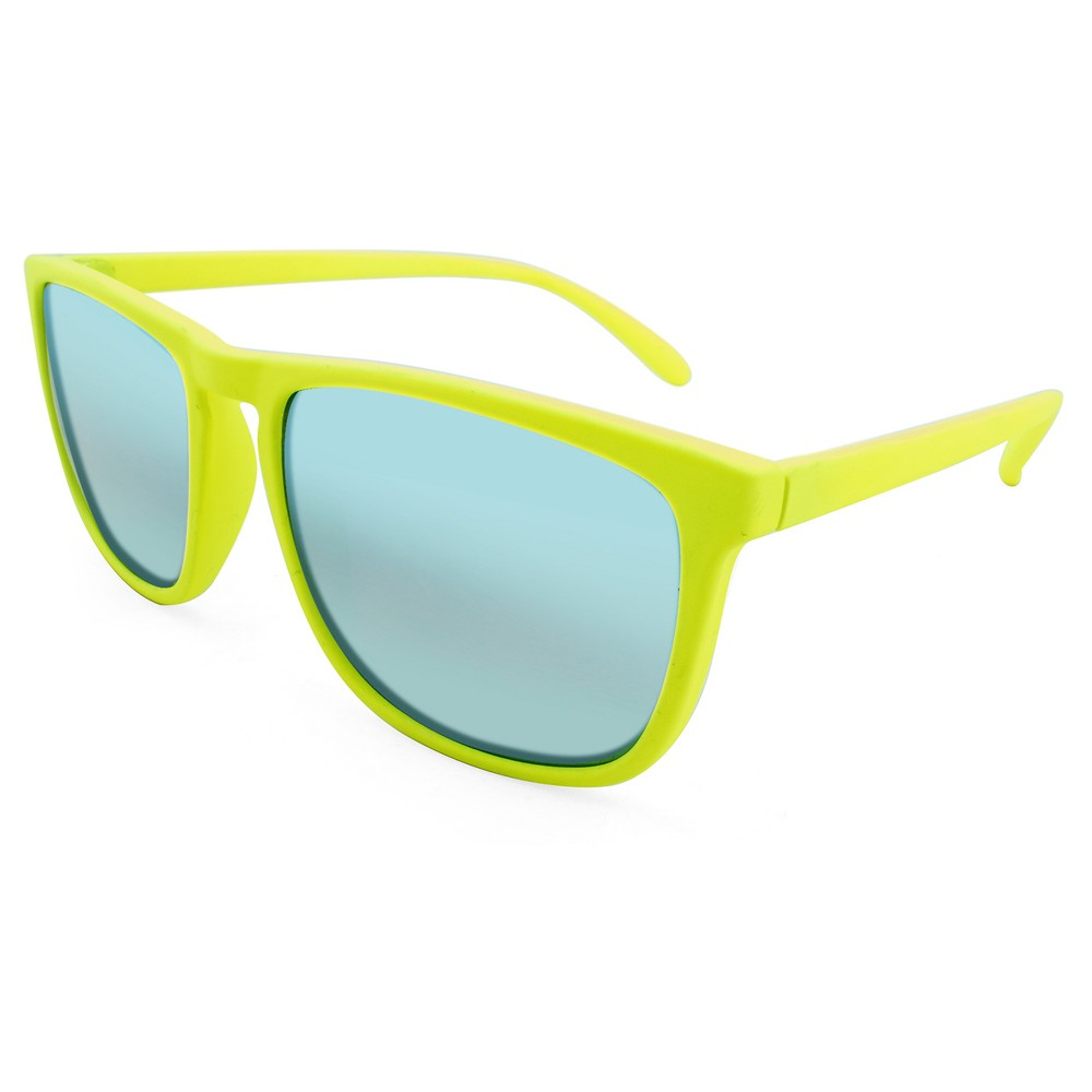 Mens Sunglasses with Blue Mirror Lenses - Yellow, Citrus