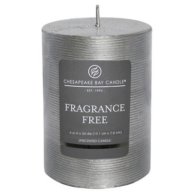 Fragrance Free Pillar Candle Silver 4 x3  - Chesapeake Bay Candle®