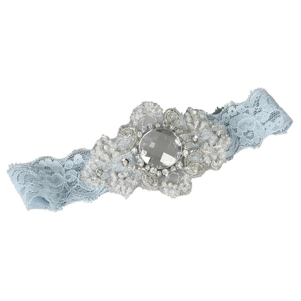 Camila Lace Blue Garter Belts - M, Womens, Size: Medium, Lite Blue