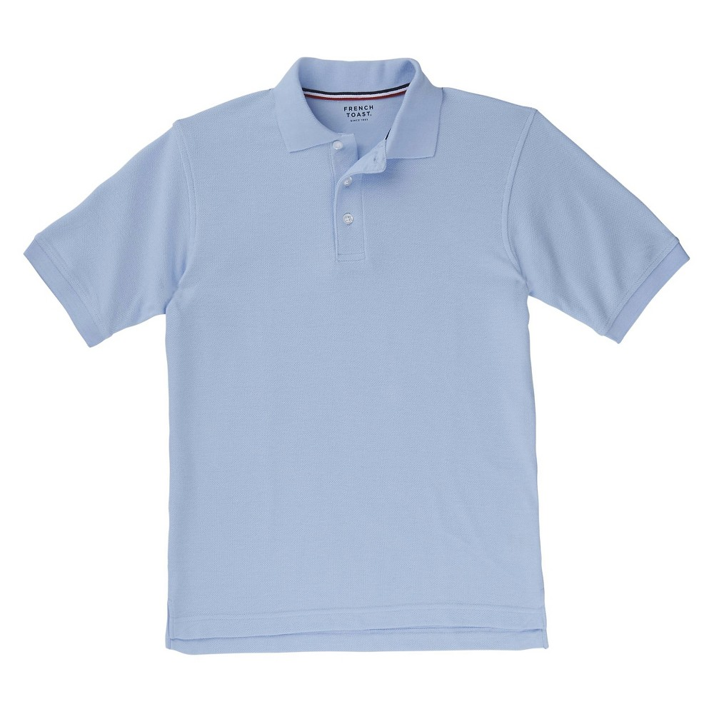 French Toast Boys Short Sleeved Pique Polo - Light Blue L, Lite Blue
