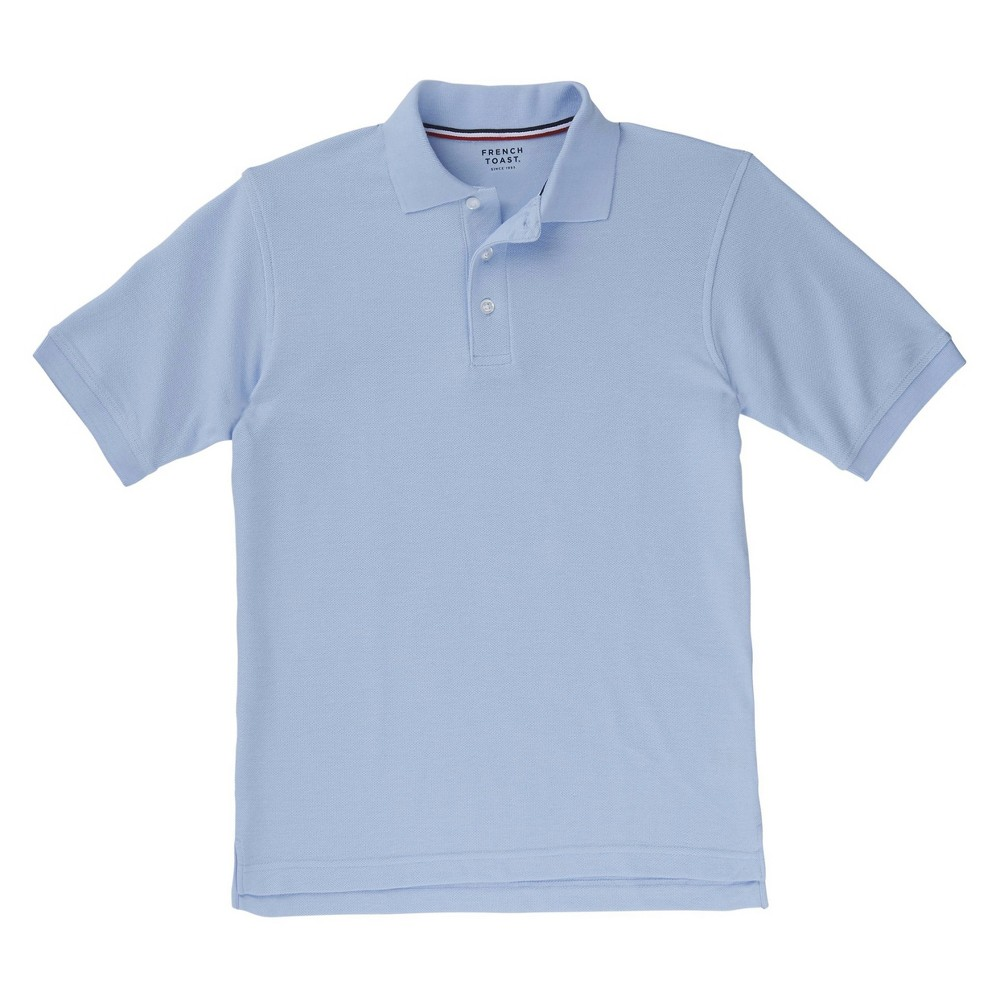 French Toast Boys Short Sleeved Pique Polo - Light Blue M, Lite Blue