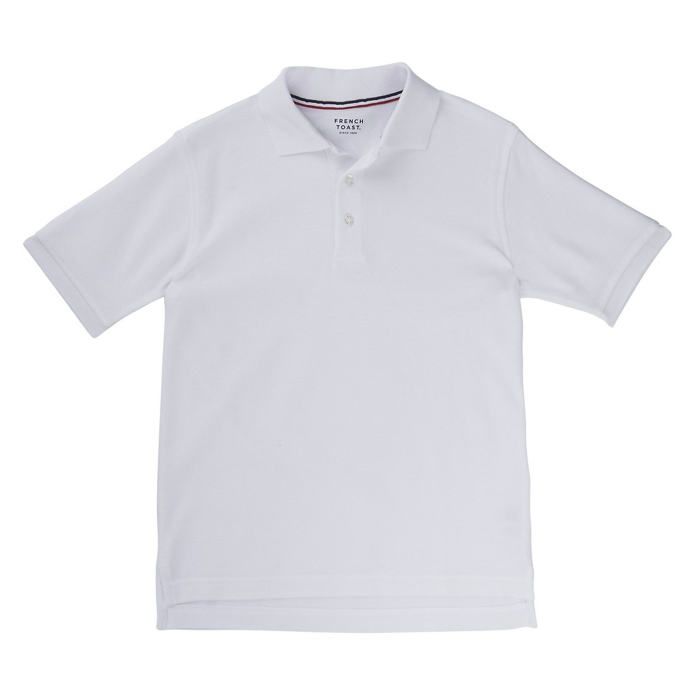 French Toast Boys' Short Sleeved Pique Polo - White L