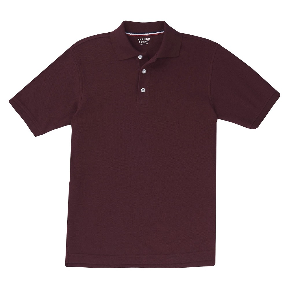 French Toast Boys' Short Sleeved Pique Polo - Burgundy (Red) XL