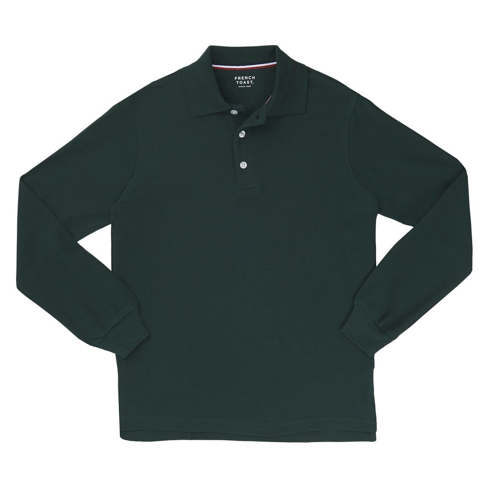 French Toast Boys Long Sleeved Pique Polo - Green XL