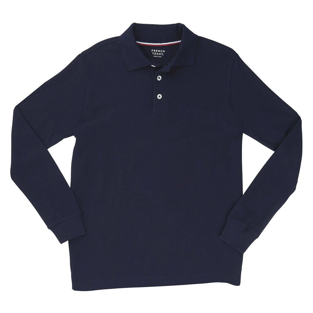 French Toast Boys Long Sleeved Pique Polo - Navy (Blue) XL