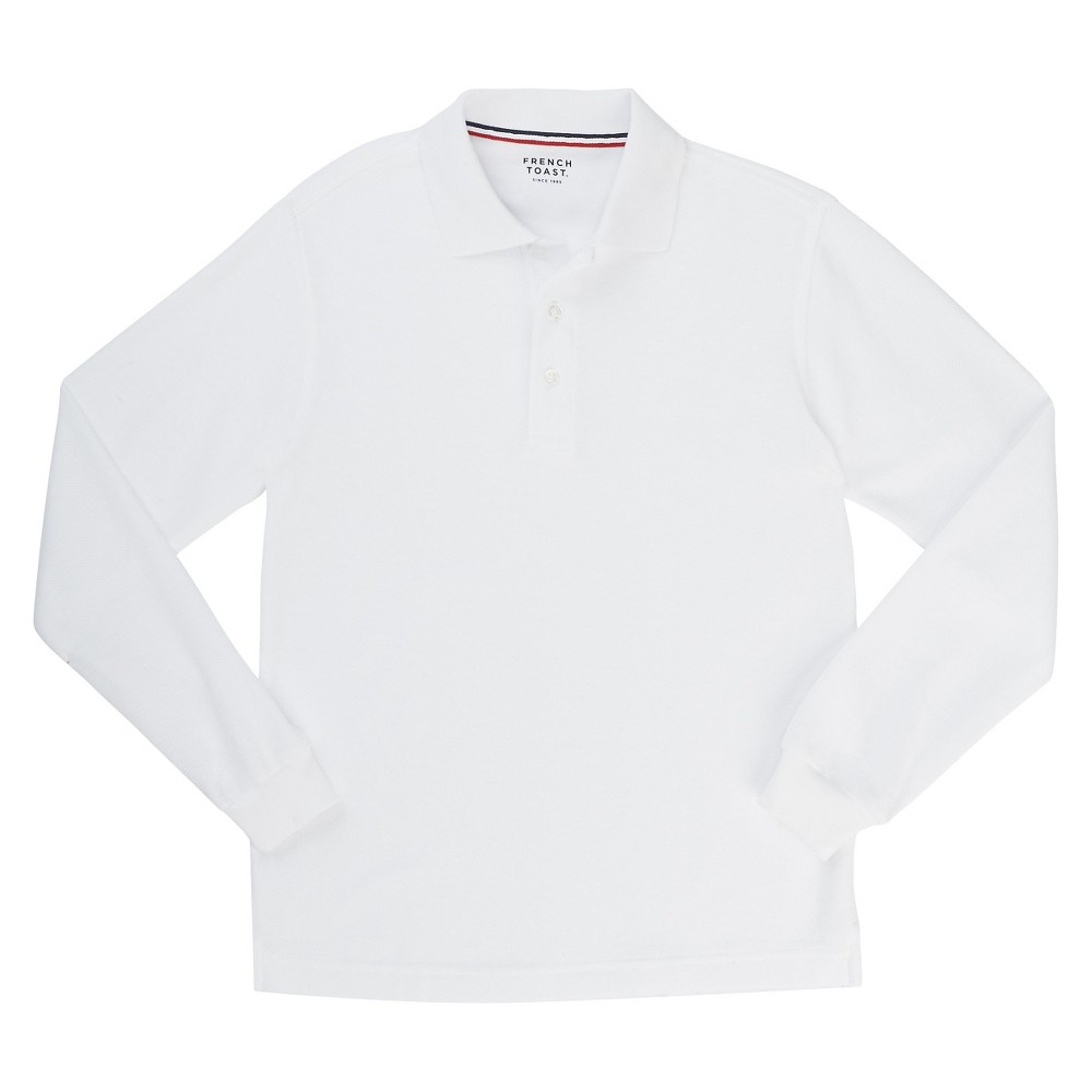French Toast Boys Long Sleeved Pique Polo - White L