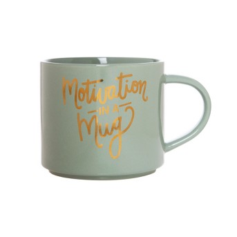 15oz Porcelain Motivation In A Mug Stackable Mug Green/Gold - Threshold™