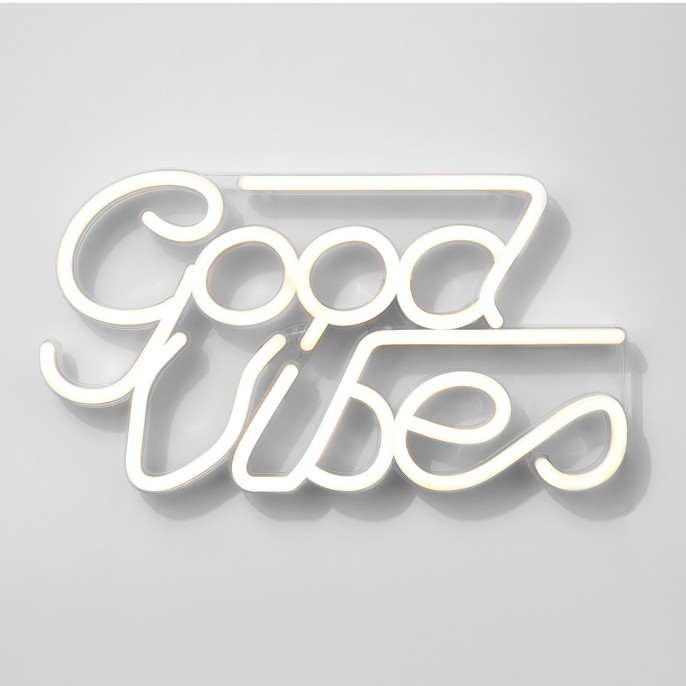 Good Vibes LED Neon Wall Sign White - Room Essentials™