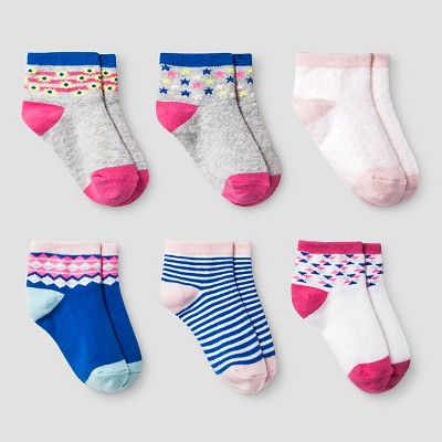 Girls' Low Cut Aztec Socks 6pk Cat & Jack™ True White 6-12M