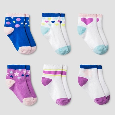 Girls' Star and Heart Low Cut Socks 6 pk Cat & Jack™ - White 6-12M
