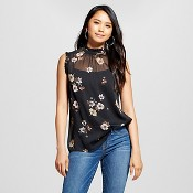 Women's Ruffle Neck Shell Black Floral M - Who What Wearâ¢