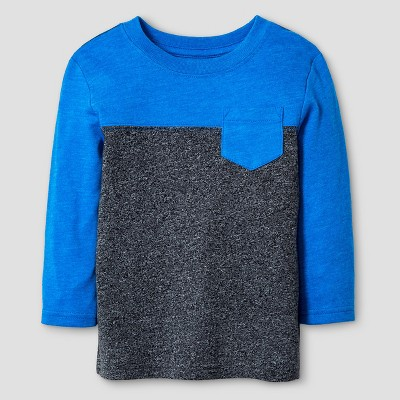 Baby Boys' Long Sleeve Colorblock T-Shirt Cat & Jack™ - Blue & Black 12 M