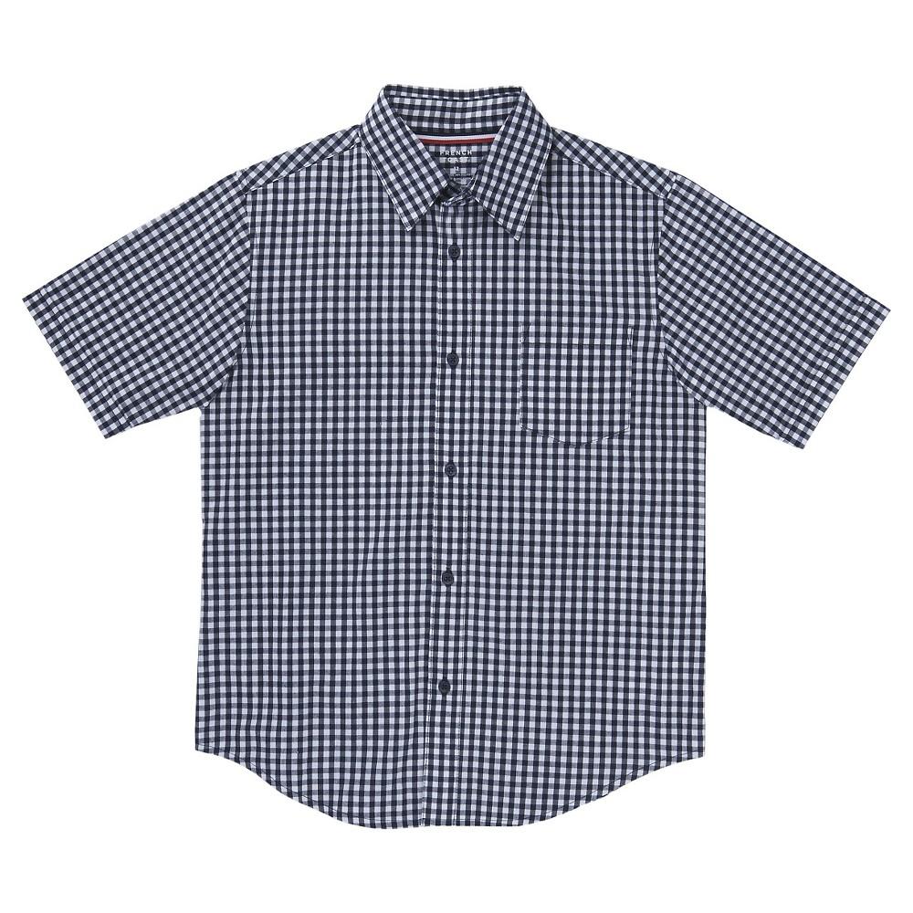 French Toast Boys Short Sleeved Gingham Shirt 20 - Navy, Blue