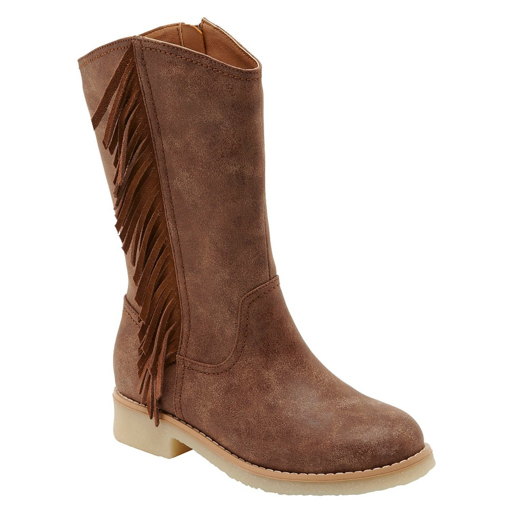 Girls Revel Dacia Tall Fringe Western Boots - Chestnut 3, Brown