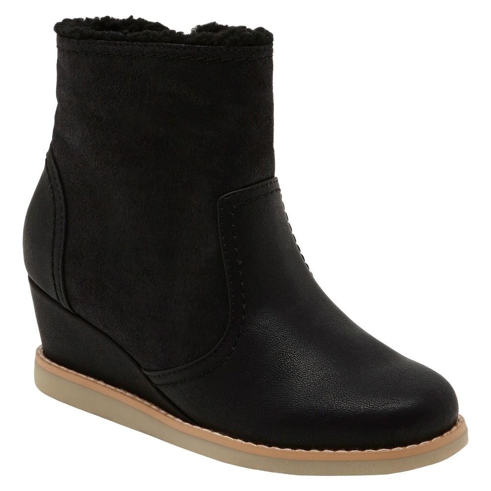 Girls Revel Denise Fur Trimmed Wedge Boots - Black 1